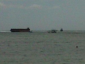 barge on reef